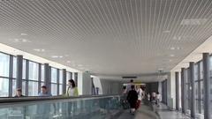 Walkalator in aiport terminal Stock Footage