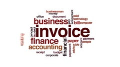 Invoice animated word cloud, text design animation. Stock Footage