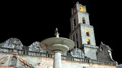 Fountain at the Plaza de San Francisco in the Old Havana by night Stock Footage