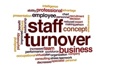 Staff turnover animated word cloud, text design animation. Stock Footage