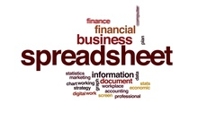 Spreadsheet animated word cloud, text design animation. Stock Footage