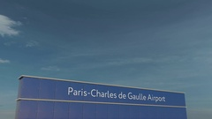 Commercial airplane taking off at Paris Charles de Gaulle Airport 3D conceptual Stock Footage