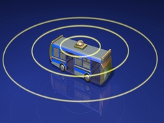 Autonomous self driving bus emitting yellow scan signals Stock Footage