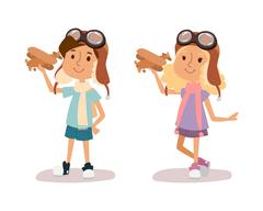 Cartoon vector kids playing pilot aviation character Stock Illustration