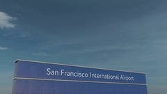 Commercial airplane taking off at San Francisco International Airport 3D Stock Footage