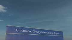 Commercial airplane taking off at Chhatrapati Shivaji International Airport 3D Stock Footage