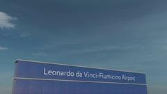 Commercial airplane taking off at Leonardo da Vinci-Fiumicino Airport 3D Stock Footage