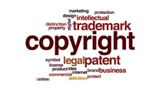 Copyright animated word cloud, text design animation. Stock Footage