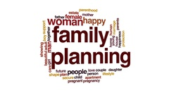 Family planning animated word cloud, text design animation. Arkistovideo