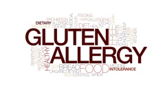 Gluten allergy animated word cloud, text animation. Kinetic typography. Stock Footage