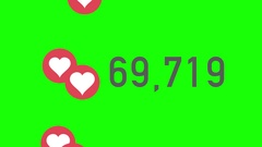 Green Screen Closeup Counter of Likes Being Accumulated with Hearts Stock Footage