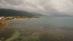 Cargo and passenger transit port aerial view .Catanduanes island, Philippines Stock Footage