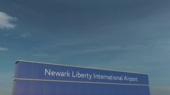 Commercial airplane taking off at Newark Liberty International Airport 3D Stock Footage