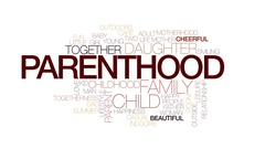 Parenthood value animated word cloud, text animation. Kinetic typography. Stock Footage