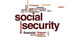 Social security animated word cloud, text design animation. Stock Footage