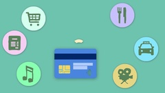 4K Credit Card Wireless Payment Animation Cartoon With Icons Around Green Ba Stock Footage