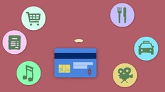 4K Credit Card Wireless Payment Animation Cartoon With Icons Around Red Back Stock Footage