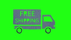 4K FREE SHIPPING Truck Animation Stop Motion on Green Screen Stock Footage