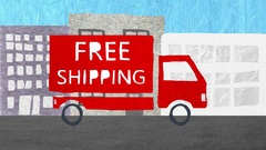 4K FREE SHIPPING Truck Animation Stop Motion Cartoon Stock Footage