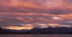 Sunset light at Lake Wanaka in New Zealand Stock Footage