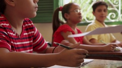 Test And Education Students In Class At School Stock Footage