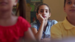 Bored Female Student Latina Girl In Class At School Stock Footage