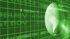 Earth Rotation   Cyberspace   Left View   green Stock Footage