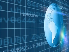 Earth Rotation   Cyberspace   Left View   blue   SD Stock Footage