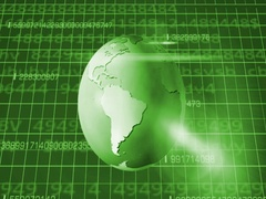 Earth Rotation   Cyberspace   Below View   green   SD Stock Footage