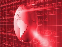 Earth Rotation   Cyberspace   Right View   red   SD Stock Footage