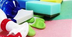 Various housekeeping supplies Stock Footage