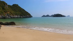 Gentle Pacific Ocean waves on the beach on the Cat Ba Island Stock Footage