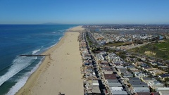 4K Newport Beach, Orange County - Flying South Stock Footage