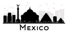 Mexico City skyline black and white silhouette. Piirros