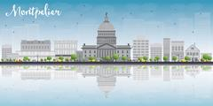 Montpelier (Vermont) city skyline with grey buildings and reflections Stock Illustration