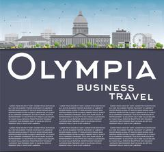 Olympia (Washington) Skyline with Grey Buildings and copy space Stock Illustration