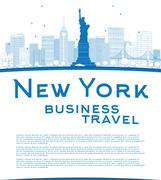 Outline New York city skyline with blue buildings and copy space Piirros