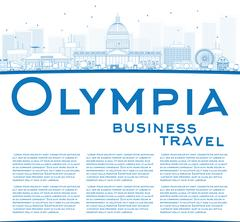 Outline Olympia (Washington) Skyline with Blue Buildings and copy space.  Stock Illustration