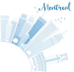 Outline Montreal skyline with blue buildings and copy space.  Stock Illustration