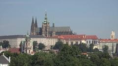 4K Amazing Castle building and famous Vitus cathedral Prague landmark emblem day Stock Footage