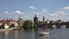 4K Famous Charles Bridge in sunny day Prague landmark iconic place tourism icon Stock Footage