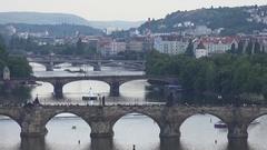 4K Aerial view tourist people cross Charles Bridge Prague landmark tourism icon Stock Footage