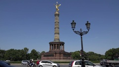 4K Traffic car and Victory Column monument in Berlin landmark commuter transport Stock Footage