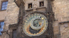 4K Astronomical Clock show Prague tourism attraction figures motion zodiac sign Stock Footage