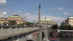 4K Tourist people take photo to Prague tourism attraction in crowded old town  Stock Footage