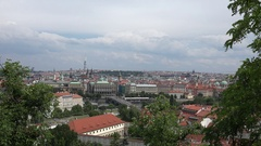 4K Beautiful Prague panorama crowded of residential district ancient church icon Stock Footage