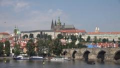 4K Amazing Charles Bridge and Prague Castle ancient Vitus cathedral landmark day Stock Footage