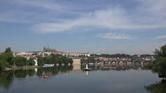 4K Beautiful Prague panorama with famous Castle Charles Bridge landmark emblem Stock Footage