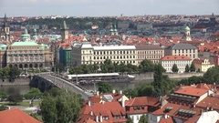4K Amazing pan right crowded old town of Prague tourism attraction building roof Stock Footage
