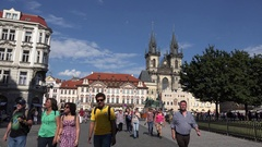 4K Pedestrian people walk in central public square of Prague famous area iconic Stock Footage
